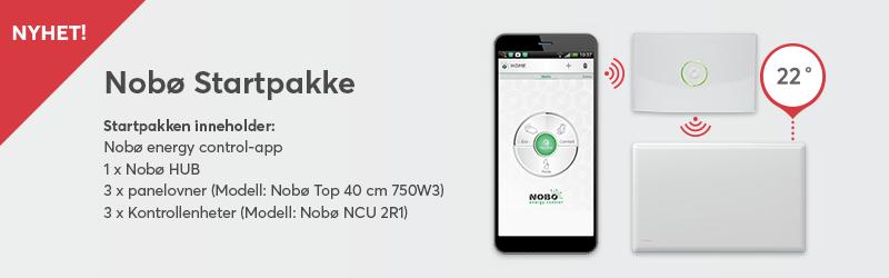 Startpakke for smart varmestyring som inkluderer 1 Nobø hub, 3 Nobø Panelovner og 3 Nobø kontrollenheter